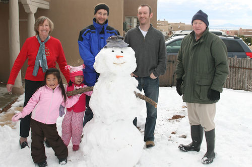Family with snowman blog