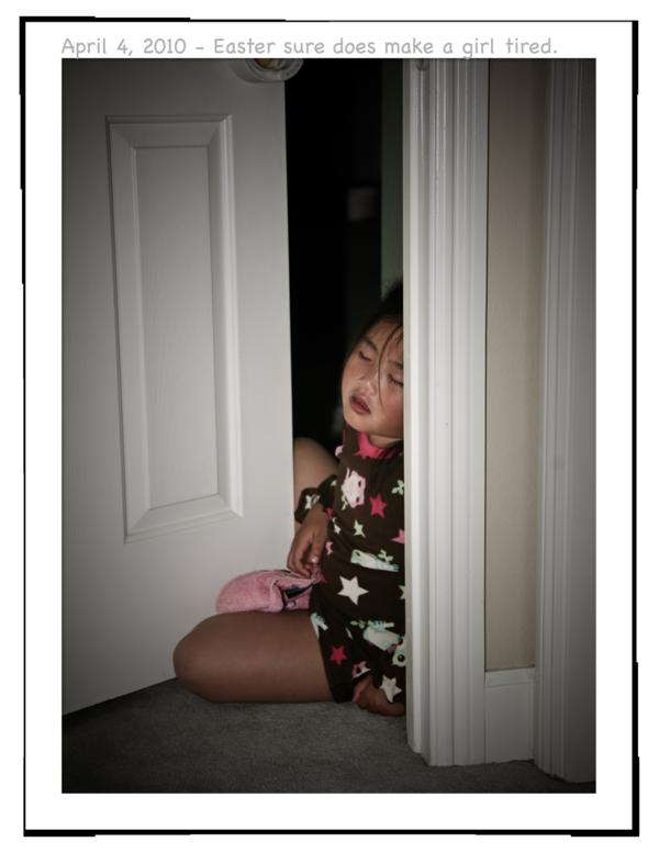 Gwen sleeping at door a