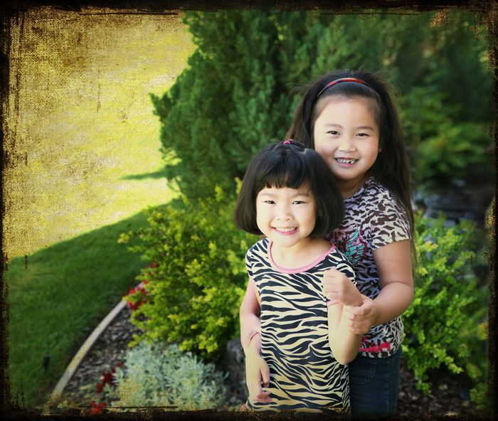 Gwen and maddy front yard fixed memory warm