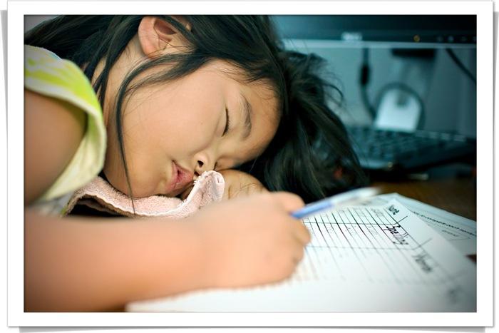 gwen fell asleep while doing her homework